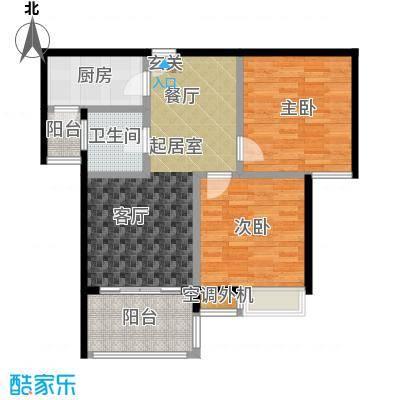 海南大溪地住宅小区74.10㎡C户型平面图户型2室2厅1卫