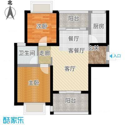 知言・棋子湾一号73.50㎡B户型2室2厅1卫