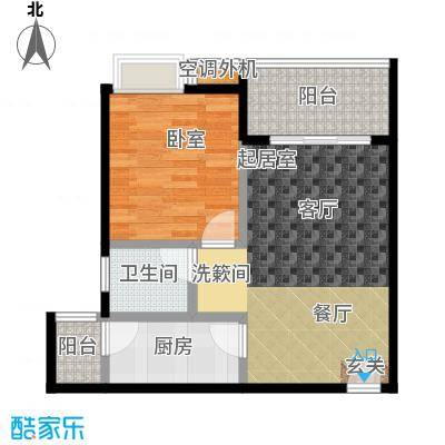 海南大溪地住宅小区57.41㎡B户型平面图户型2室2厅1卫