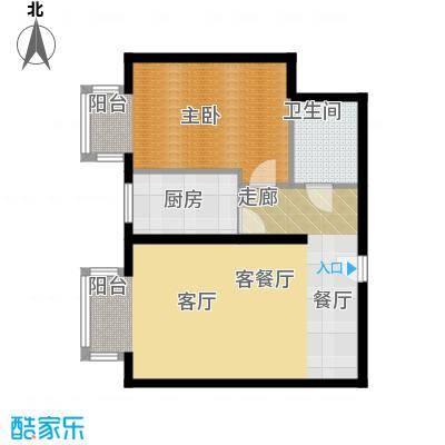 国际E庄65.00㎡B户型一室一厅一卫户型