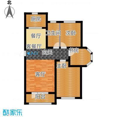 鸿玮澜山二期和院107.00㎡A三室两厅一卫107平米户型图户型3室2厅1卫