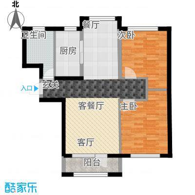 鸿玮澜山二期和院85.00㎡F两室两厅一卫85平米户型图户型2室2厅1卫