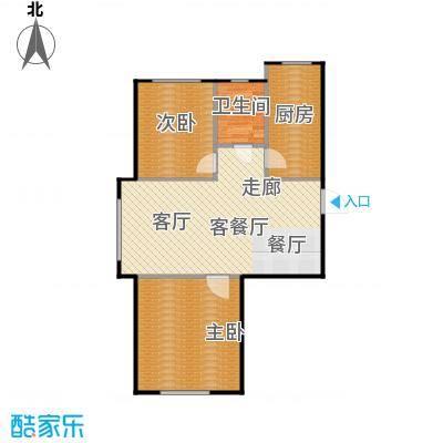 百合花园80.00㎡E户型2室2厅1卫
