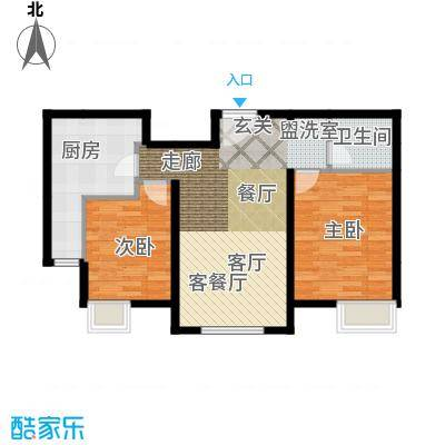 融科橄榄城2c户型两室两厅一卫户型