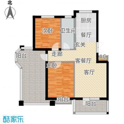 鲁能东方优山美地92.97㎡二期洋房 F户型 二室二厅一卫户型2室2厅1卫