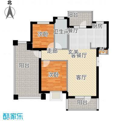 鲁能东方优山美地二期洋房 D户型 二室二厅一卫户型2室2厅1卫