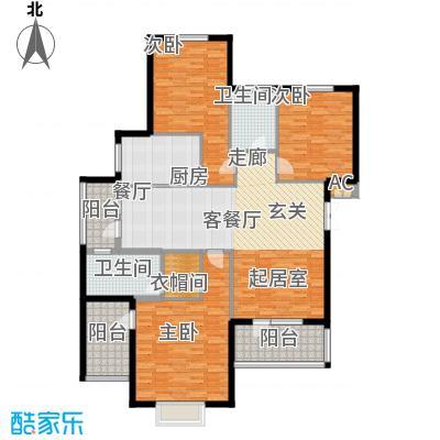 鲁能东方优山美地155.75㎡二期洋房 E户型 三室二厅二卫户型3室2厅2卫