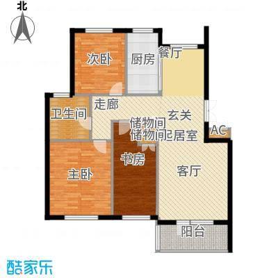 鲁能东方优山美地113.37㎡二期洋房 C户型 三室二厅一卫户型3室2厅1卫