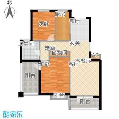 鲁能东方优山美地二期洋房 C户型 二室二厅一卫户型2室2厅1卫