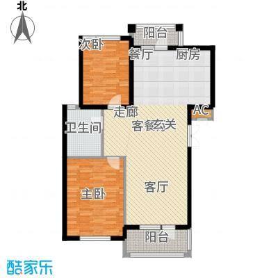鲁能东方优山美地二期洋房 B户型 二室二厅一卫户型2室2厅1卫