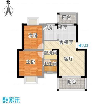 知言・棋子湾一号68.07㎡A户型2室2厅1卫
