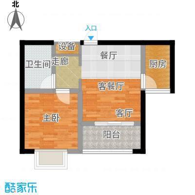 知言・棋子湾一号48.34㎡C户型1室2厅1卫