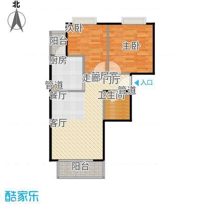 汇鸿家园75.00㎡两室两厅一卫户型