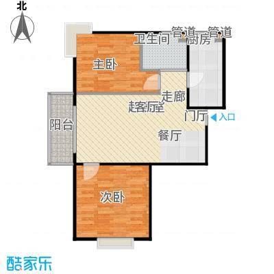 汇鸿家园82.00㎡两室两厅一卫户型