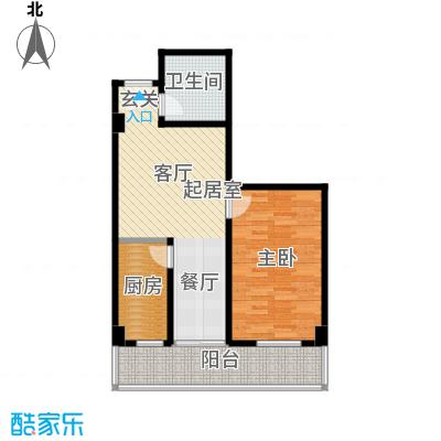 世纪东方城(远景)73.22㎡1室1厅1卫1厨户型