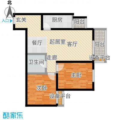 梵谷水郡(ZAMA三期)b1-6户型两室两厅一卫户型