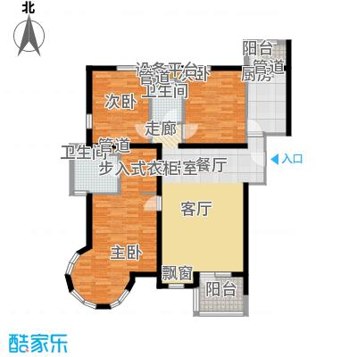 慧谷阳光137.34㎡L座1单元2-8层03户型三室二厅二卫户型