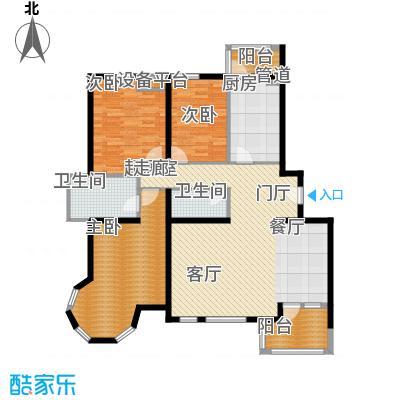 慧谷阳光154.34㎡M座1单元3-8层02户型三室二厅二卫户型