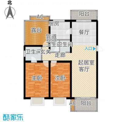 北京青年城117.16㎡二室二厅户型