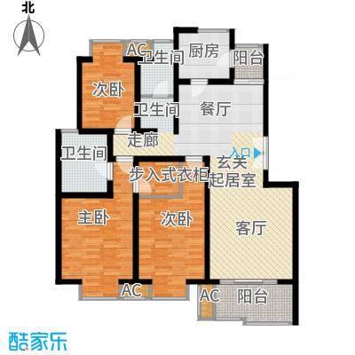 北京青年城121.71㎡三室二厅户型