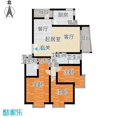 北京青年城129.86㎡三室二厅户型