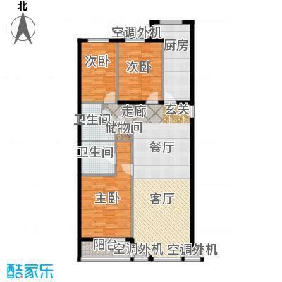 金港国际公寓(三期)114.74㎡华美三居户型