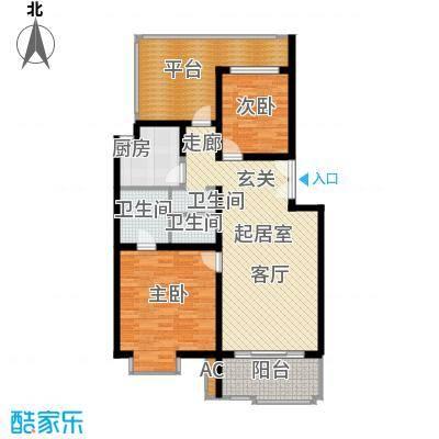 北京青年城90.65㎡两室两厅两卫户型