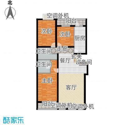金港国际公寓(三期)141.26㎡明朗三居户型