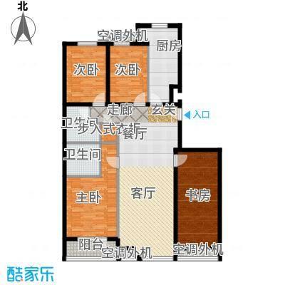 金港国际公寓(三期)136.73㎡名仕四居户型