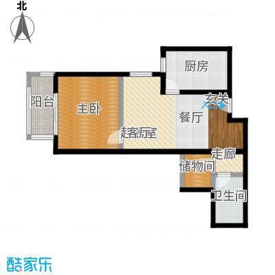 京东丽景苑65.91㎡1室1厅1卫户型