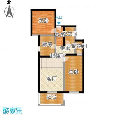 京东丽景苑85.43㎡2室2厅1卫户型