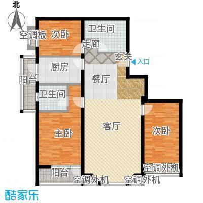 金港国际公寓(三期)118.13㎡豪情三居户型