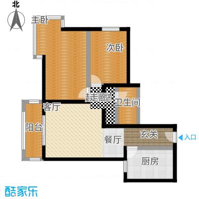 京东丽景苑86.25㎡2室2厅1卫户型
