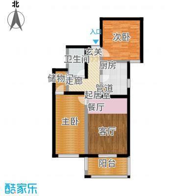 京东丽景苑85.43㎡反户2室2厅1卫户型