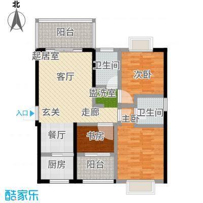 蓝海国际2#楼B户型88㎡三房两厅两卫户型3室2厅2卫