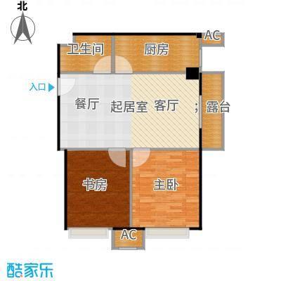 东方郁金香84.29㎡A-15户型二居户型