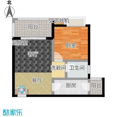 海南大溪地住宅小区59.37㎡F户型平面图户型2室2厅1卫