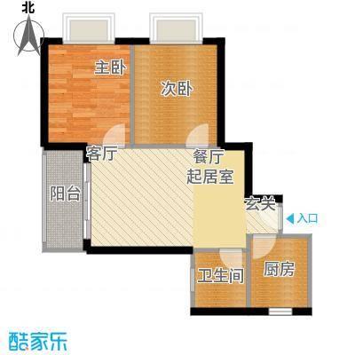 山水兰庭-户型2室1卫1厨