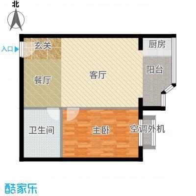 金港国际公寓(三期)70.17㎡一室一厅户型