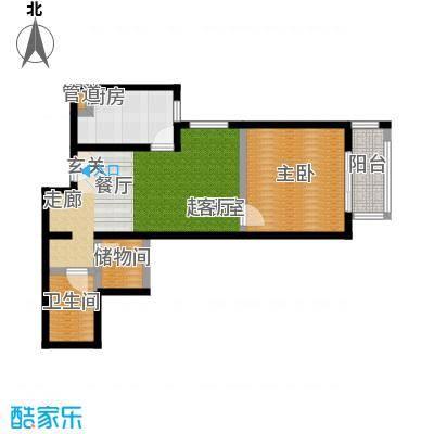 京东丽景苑65.91㎡反户1室1厅1卫户型