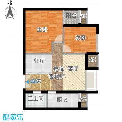 东亚望京中心A2c1户型二居户型