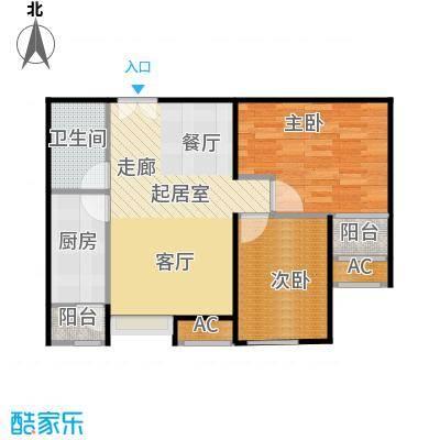 东亚望京中心A2b1两室两厅一卫户型