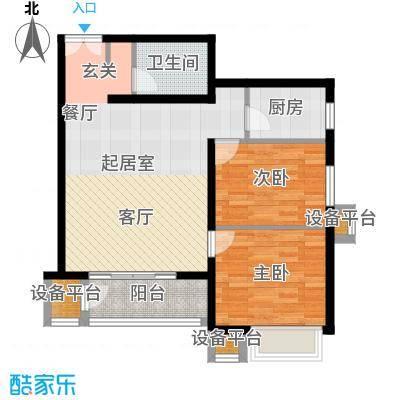 燕京航城90.00㎡22号楼F3两室两厅一卫户型
