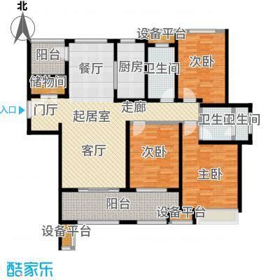 万科玲珑东区127.00㎡3室2厅2卫户型3室2厅2卫