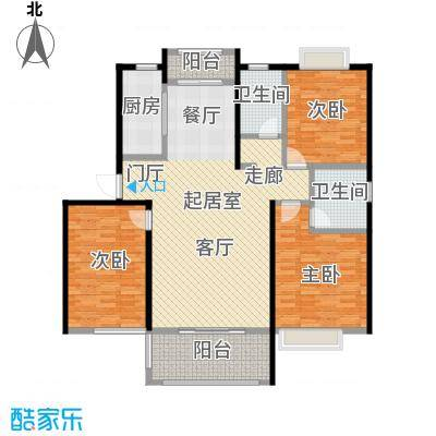 鑫苑世家136.03㎡136.03平米D户型,三室两厅两卫户型3室2厅2卫