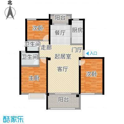 鑫苑世家121.75㎡121.75平米E户型 三室两厅两卫户型3室2厅2卫