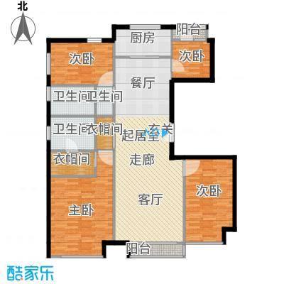 中国铁建・花语城142.00㎡3-E户型三室两厅两卫+功能房户型3室2厅2卫