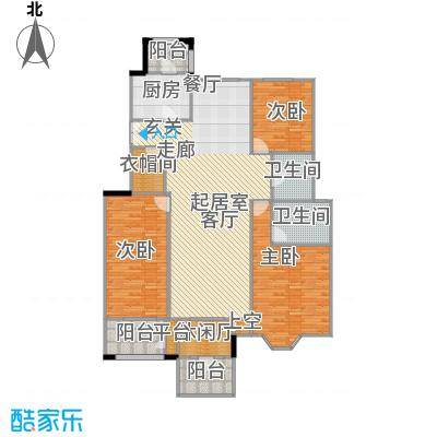 中国铁建・花语城155.00㎡3-H5三室两厅两卫户型3室2厅2卫