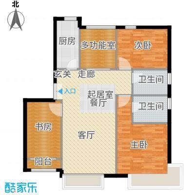 中国铁建・花语城131.00㎡3-D户型三室两厅两卫户型3室2厅2卫