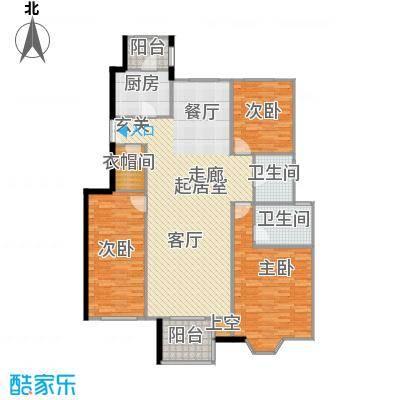 中国铁建・花语城147.00㎡3-H3三室两厅两卫户型3室2厅2卫